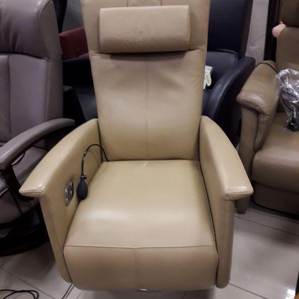 Krém színű bőr elektromos,felállás segítő, körbeforgós Relax fotel  21/032