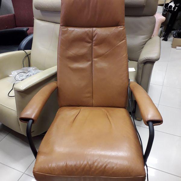 Világos barna bőr elektromos, körbeforgós Relax fotel  21/031