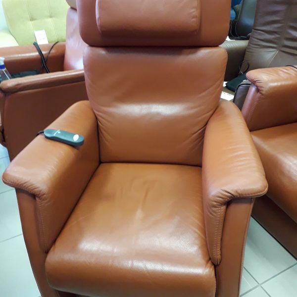 Elektromos, felállás segítő, relax fotel rozsdabarna bőr 21/024